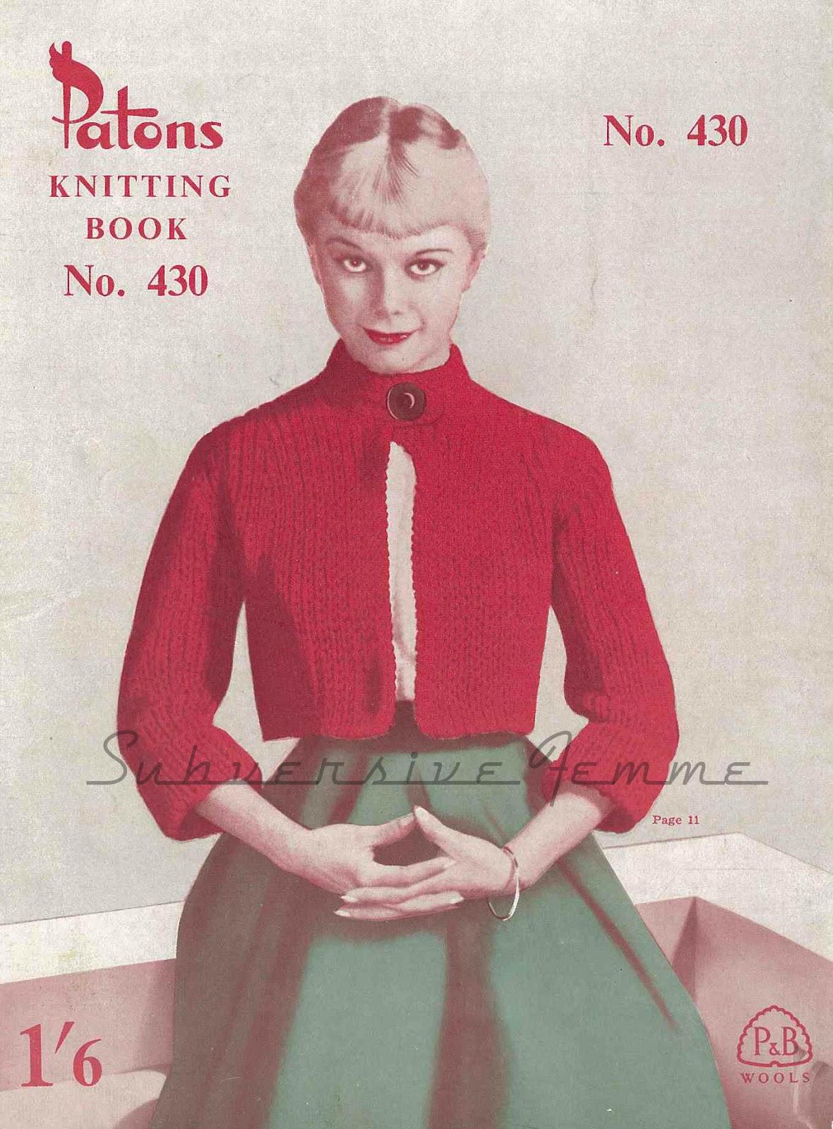Nautical Shortie Coat from Patons No.430, 1950s – Subversive Femme
