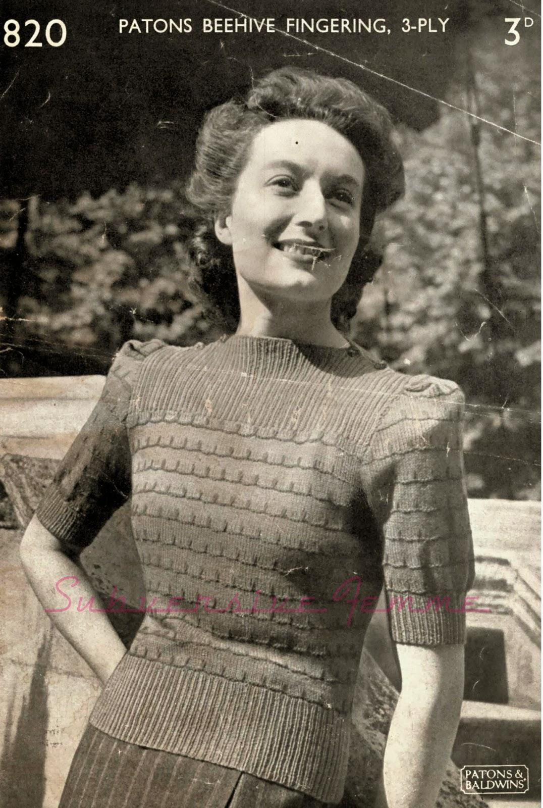 Free Pattern: 1940s Split-Neck Jumper, Patons 820 – Subversive Femme