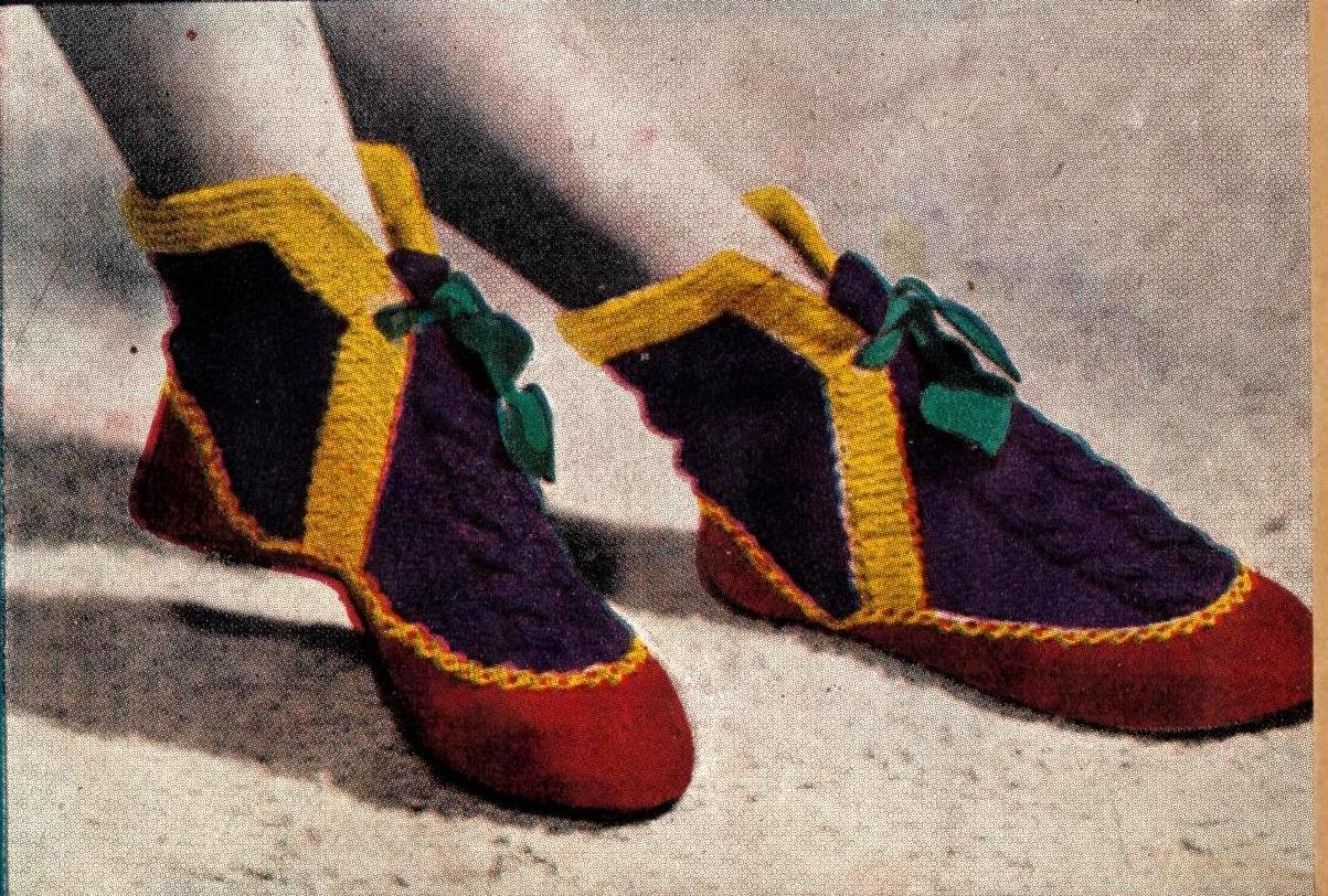 1940s booties slippers knitting pattern
