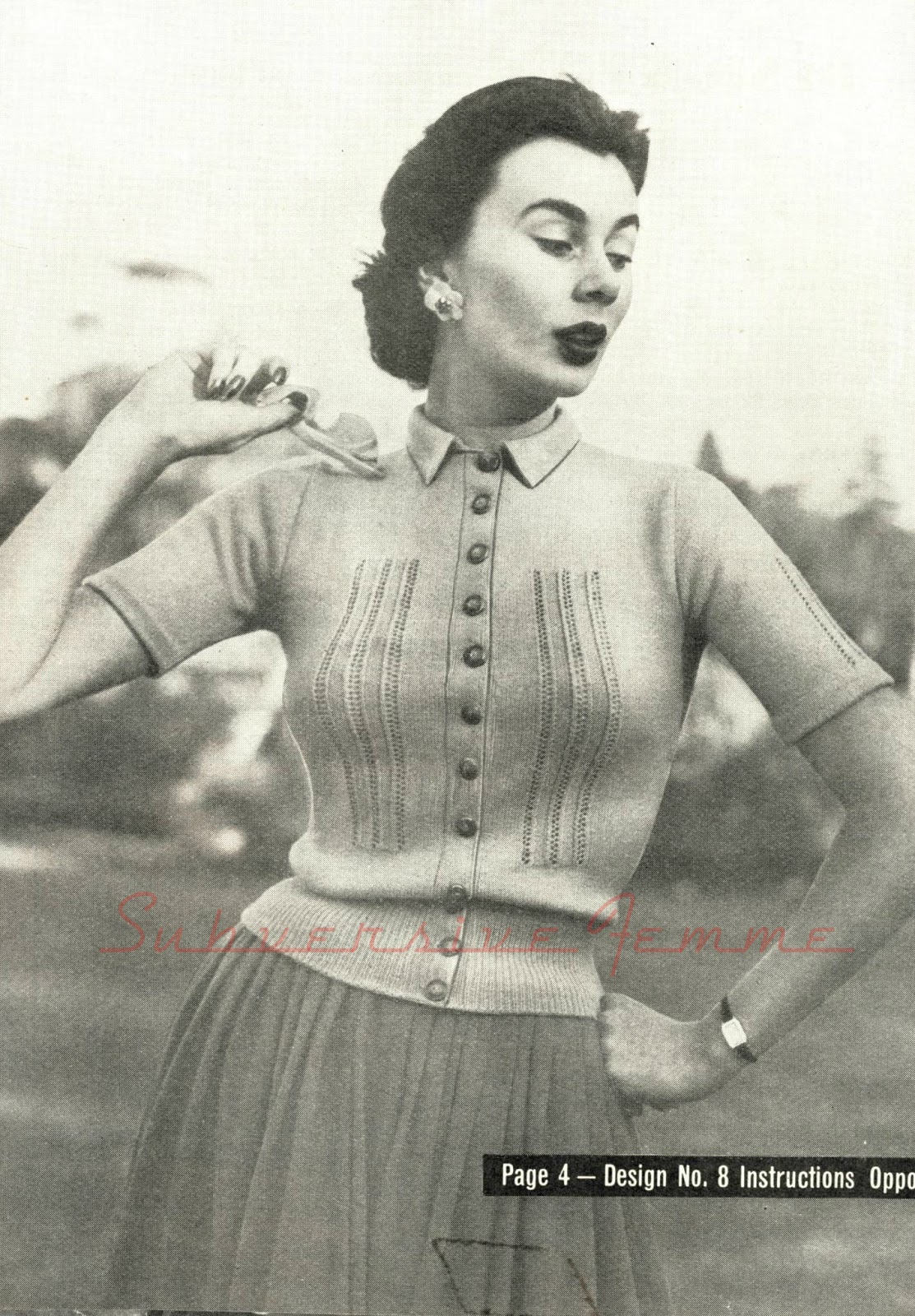 A lace paneled cardigan, c. 1950s (Twinprufe Spring Lace Knitting ...