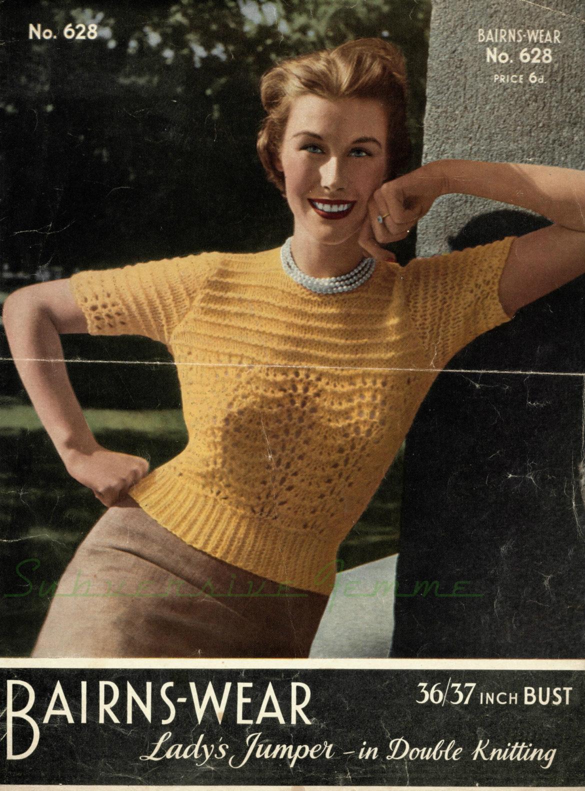 bairnswear bairns-wear 628 free vintage knitting patterns 1940s 1950s sweater