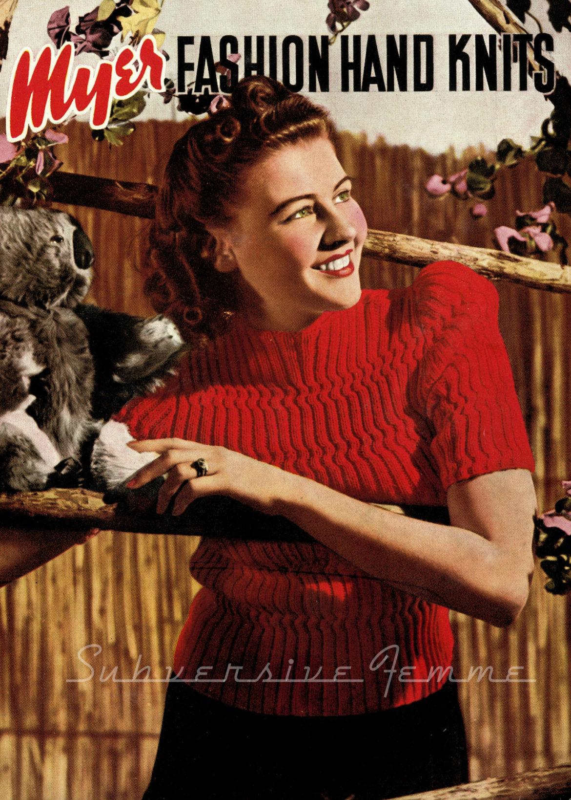free vintage knitting pattern 1940s