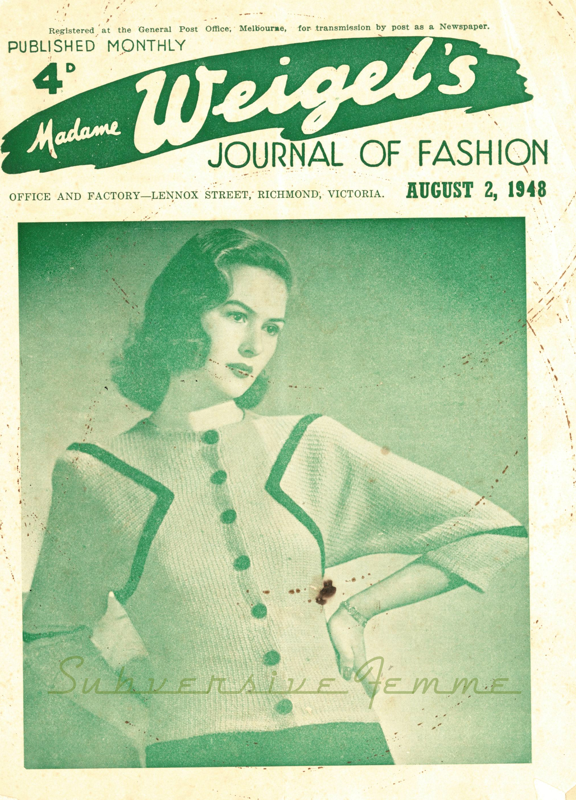 free vintage knitting pattern madame weigels 1940s