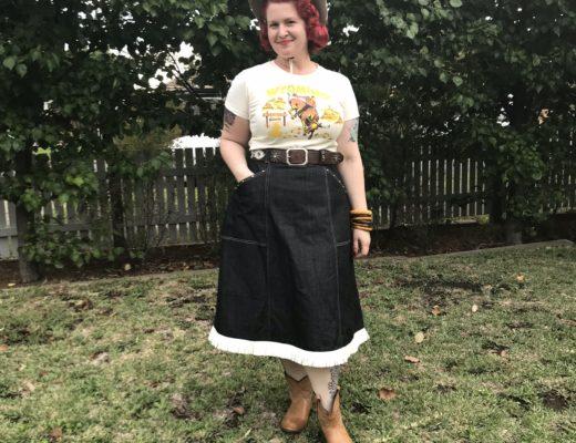 1950s denim western skirt vintage repro
