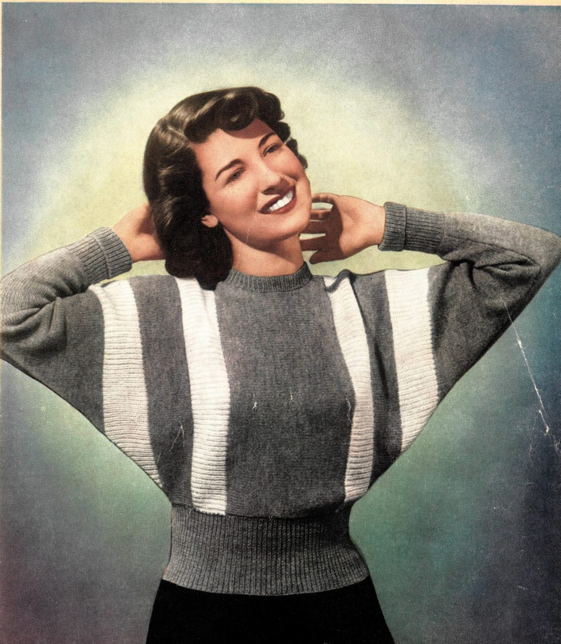 batwing raglan sweater jumper vintage knitting pattern marriners 69