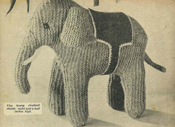 elephant vintage knitting pattern toy