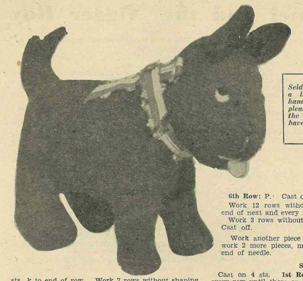 scottie dog vintage knitting pattern toy
