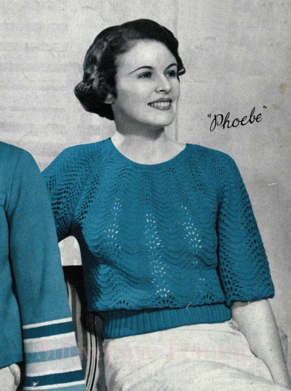 1930s lace jumper vintage knitting pattern patons