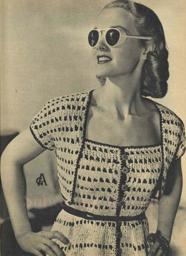 vintage knitting patterns dress 1950s