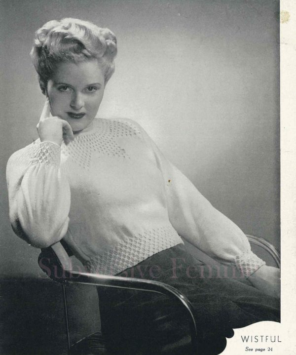 wistful vintage knitting pattern patterns 1940s
