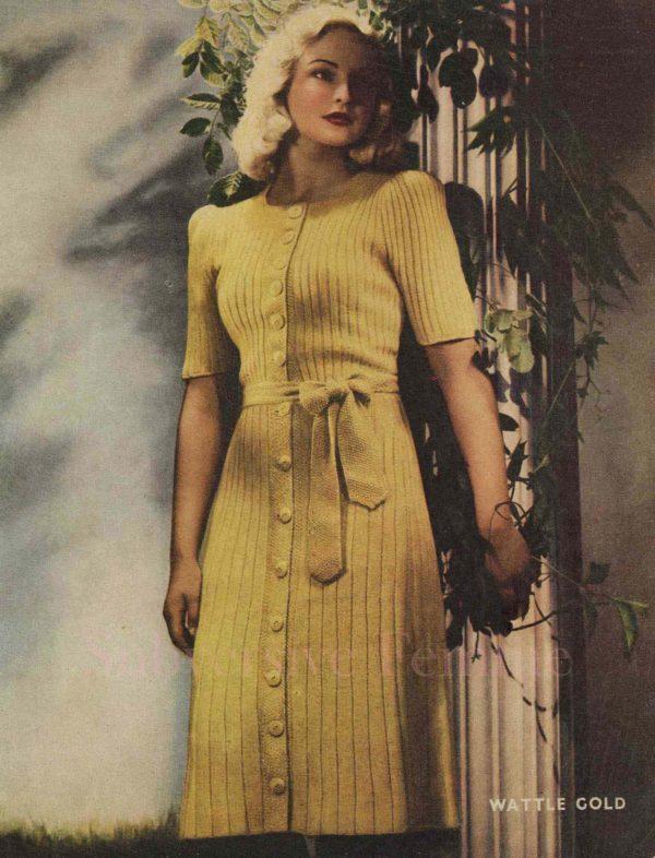 wattle gold knitted dress pattern 1940s