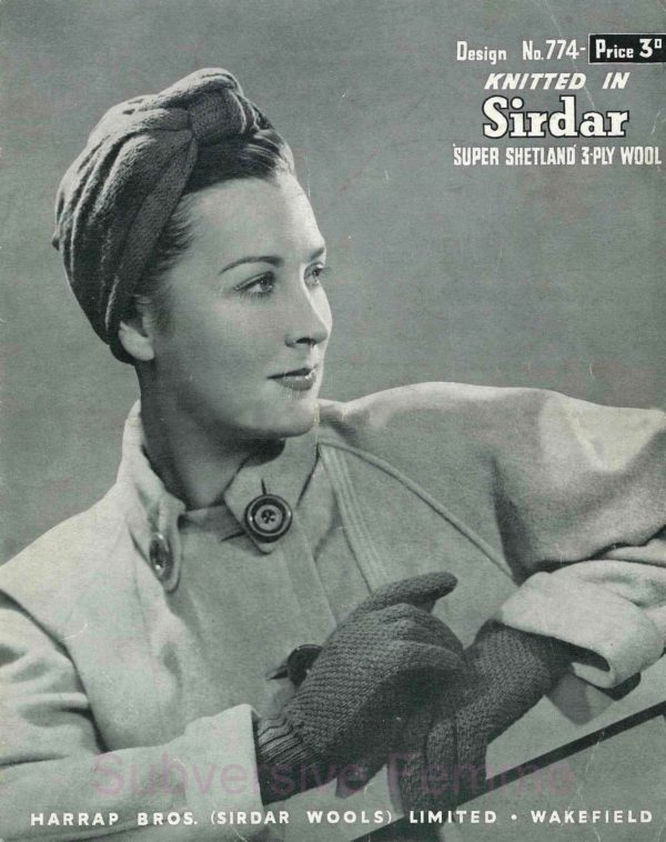1940s turban snood pattern vintage knitting