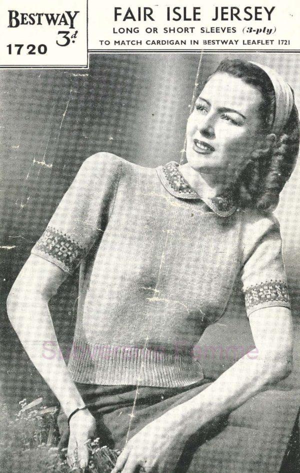 Sirdar 1720 vintage knitting patterns jumper 1940s sweater