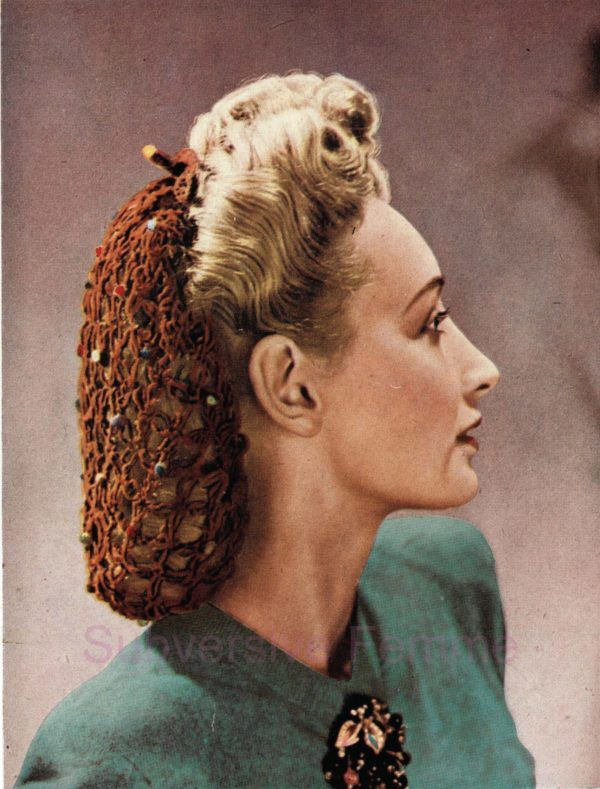 vintage snood rockabilly crochet knitting pattern