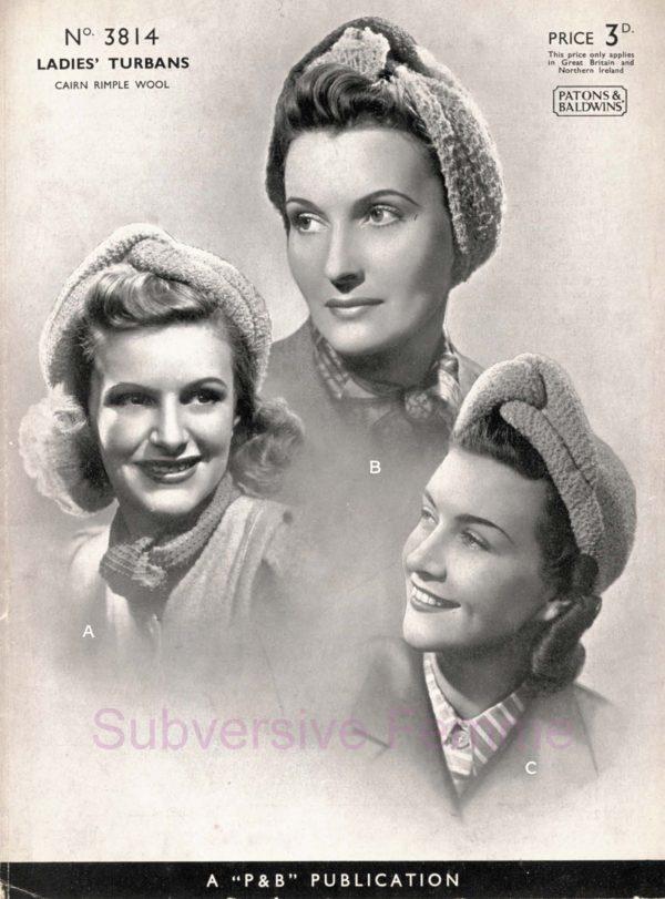 turban knitting pattern vintage patons 3814