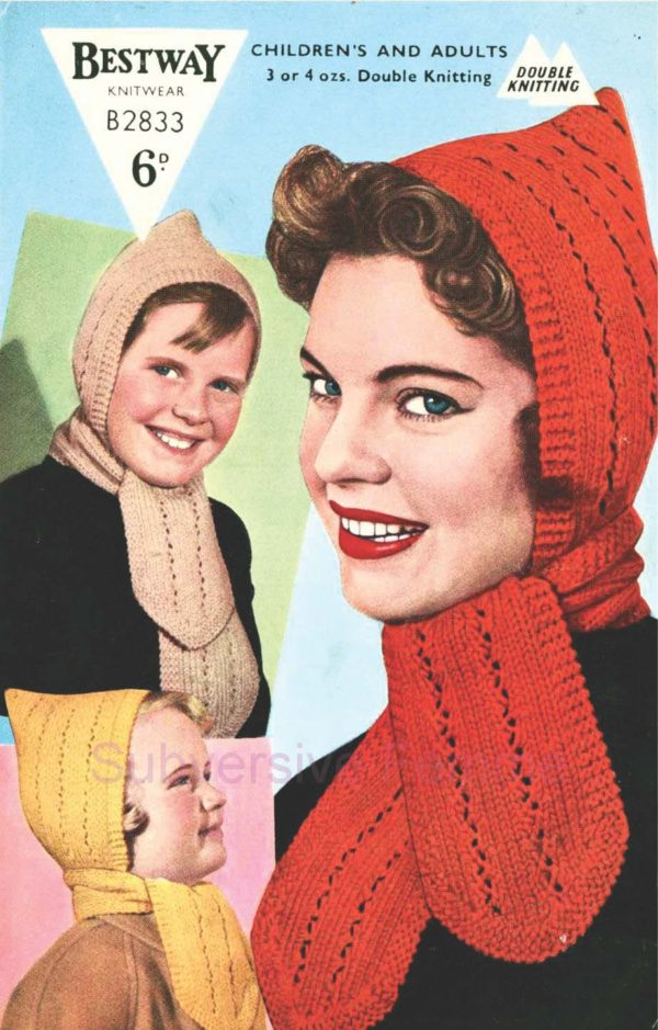 bestway B2833 hooded scarf 1950s knitting pattern hood hat