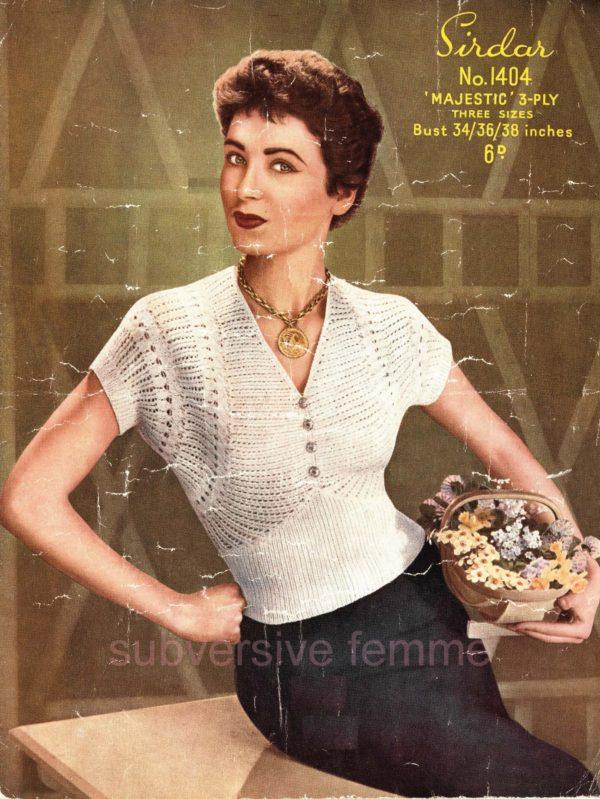 sirdar 1401 vintage knitting pattern lace jumper