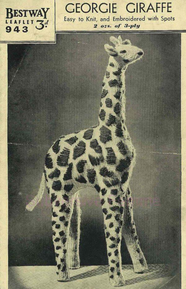 bestway 943 knitted giraffe toy vintage