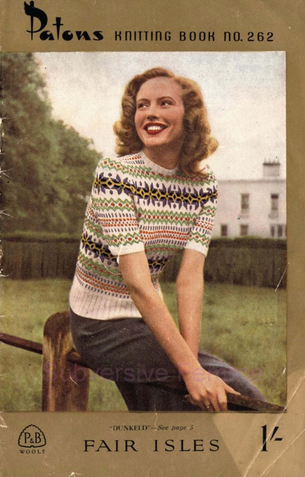 patons 262 fairisle vintage knitting patterns