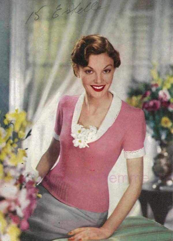 stitchcraft may 1951 magazine knitting patterns pink jumper sweater 1950s