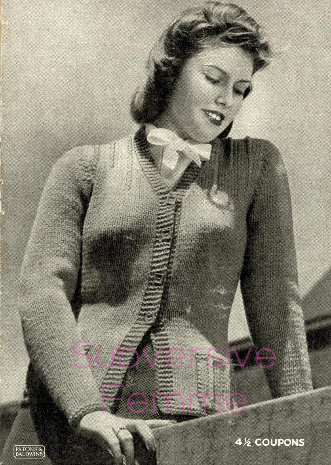 free vintage knitting patterns 1940s