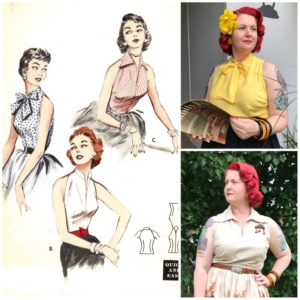 bare shoulder blouses vintage sewing pattern butterick 6965