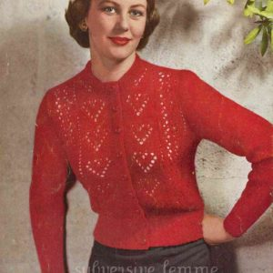 ten of hearts cardigan knitting pattern vintage patons C-364