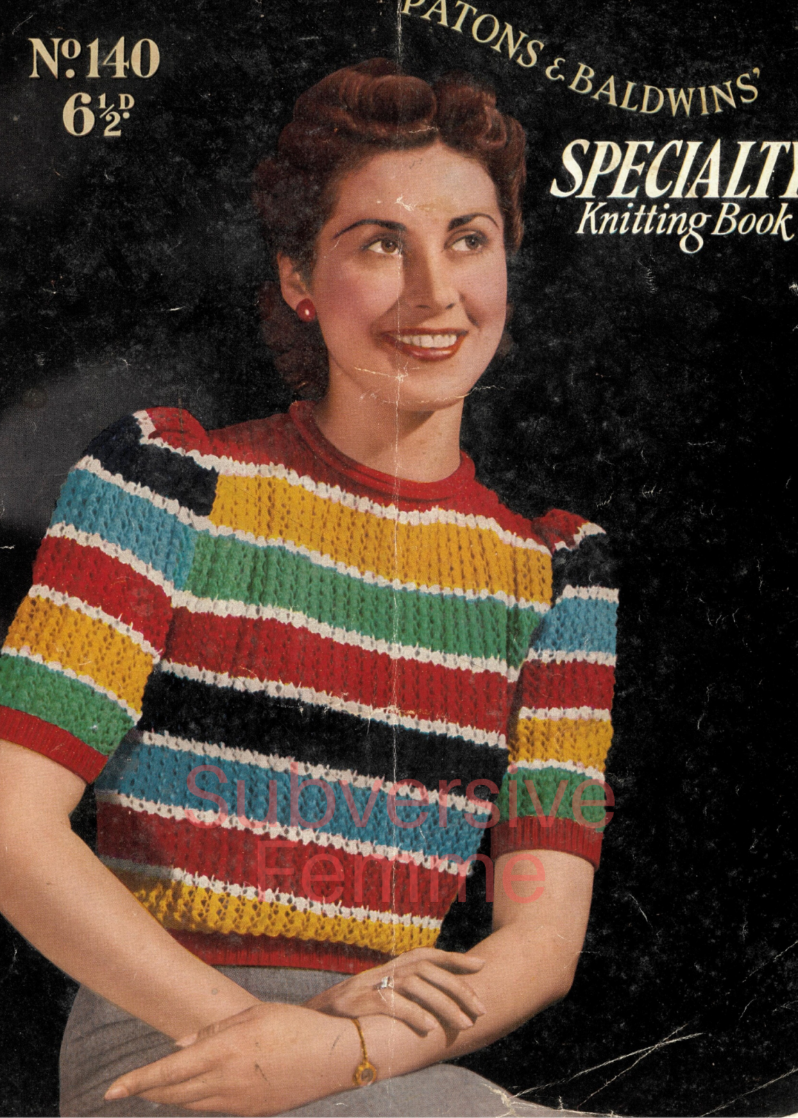 free vintage knitting pattern 1940s 1930s sweater jumper womens vintage knitting pattern lady UK