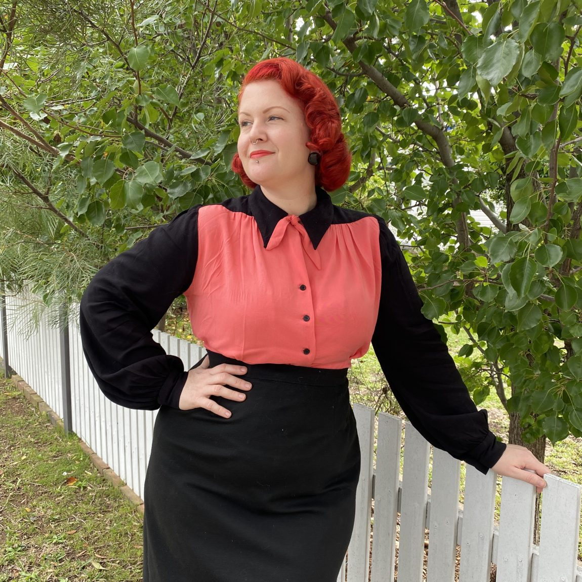 1940s smooth sailing blouse vintage wearing history reproduction colourblock