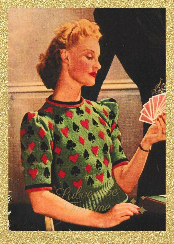 rockabilly vintage knitting patterns 1940s vintageknittingpatternlady lady sweater jumer womens