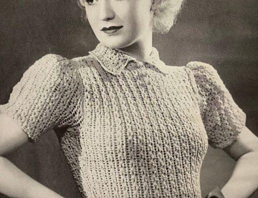 free vintage knitting patterns 1930s clara bow movie star lace jumper sweater pincurls blonde
