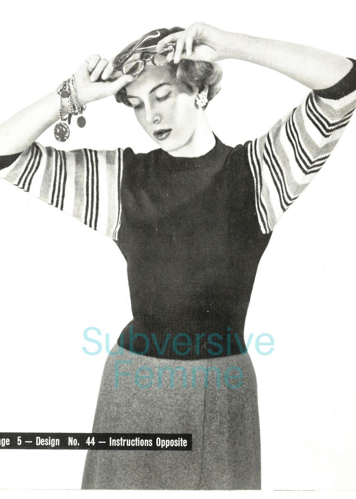 1950s free vintage knitting pattern striped dolman sweater