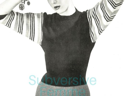 1950s free vintage knitting pattern striped dolman sweater