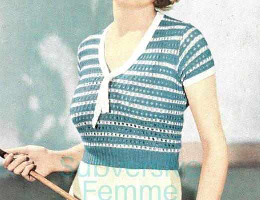 free vintage knitting patterns 1930s sweater blouse tie neck sailor nautical
